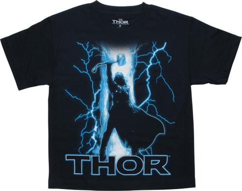 Thor Dark World Lightning Navy Blue Youth T-Shirt
