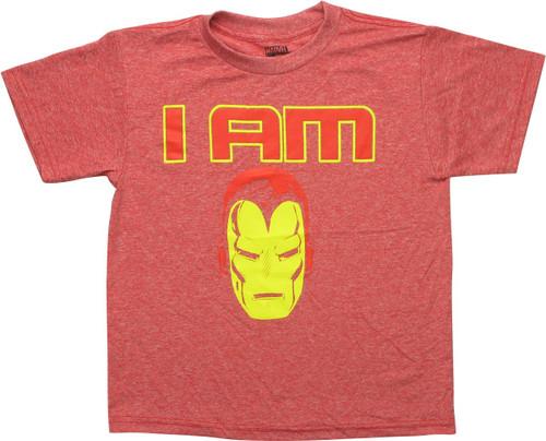 I Am Iron Man Helmet Heathered Red Youth T-Shirt