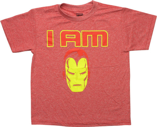 I Am Iron Man Helmet Heathered Red Youth T-Shirt