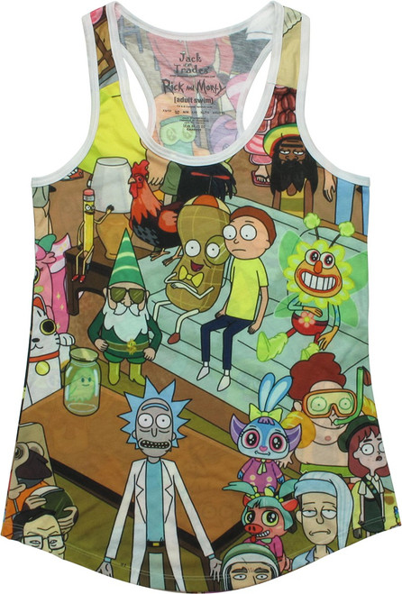 Rick and Morty Characters AOP Juniors Tank Top