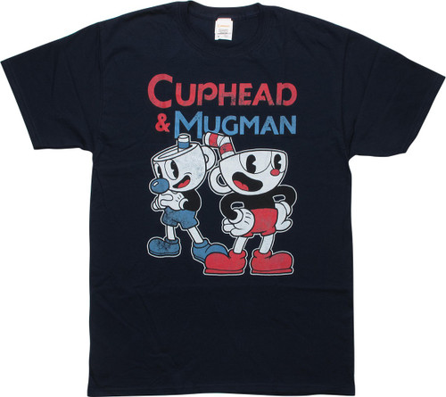 Cuphead and Mugman Retro Navy T-Shirt