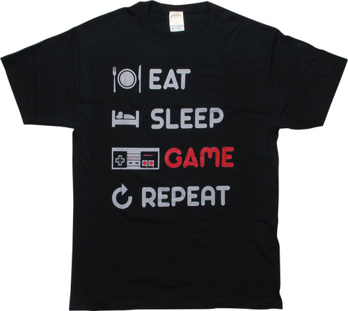 Nintendo Eat Sleep Game Repeat Black T-Shirt