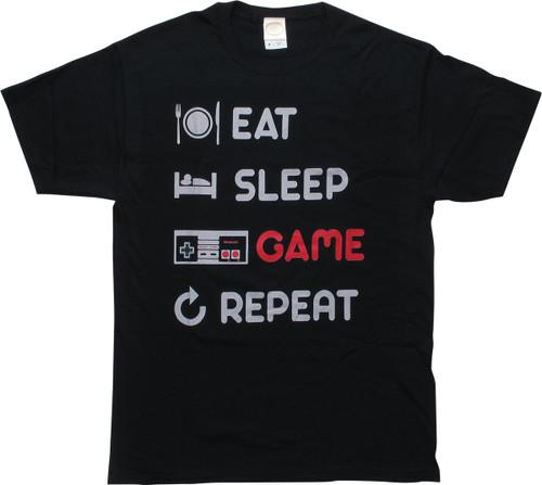 Nintendo Eat Sleep Game Repeat Black T-Shirt