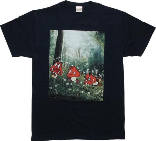 Mario Goombas Stumbling Navy Blue T-Shirt