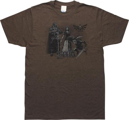 Zelda Twilight Princess Characters Brown T-Shirt