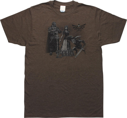 Zelda Twilight Princess Characters Brown T-Shirt