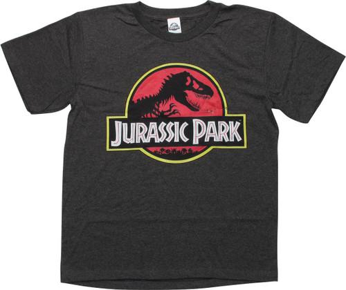 Jurassic Park Logo Heather Charcoal Youth T-Shirt