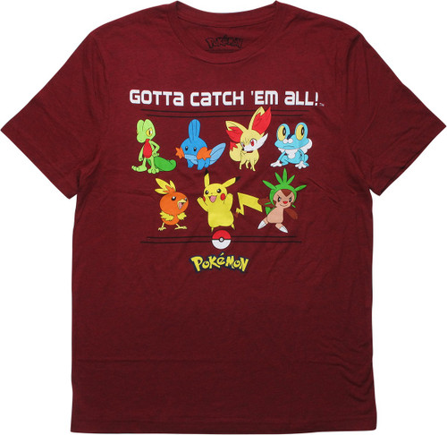 Pokemon Starters Gotta Catch'em All T-Shirt
