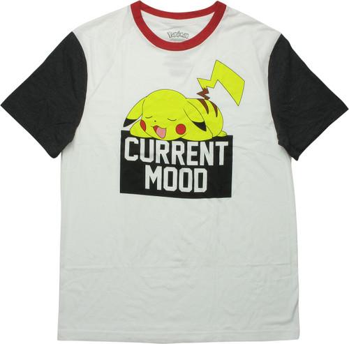 Pokemon Pikachu Current Mood Ringer T-Shirt