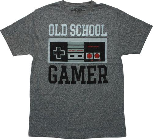 Nintendo Old School Gamer Heathered Gray T-Shirt
