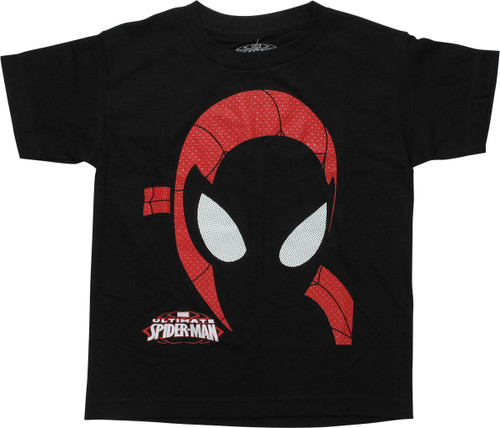 Ultimate Spiderman Mask Black Youth T-Shirt