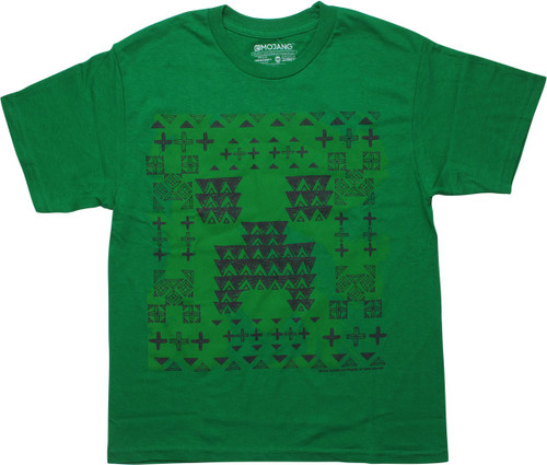 Minecraft Creeper Glyph Green Youth T-Shirt