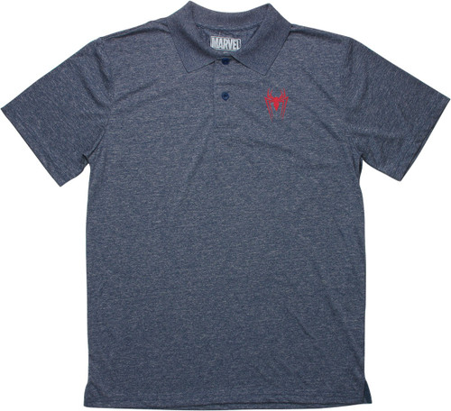 Spiderman Spider Logo Heathered Navy Polo Shirt