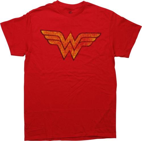Wonder Woman Logo Distressed Red T-Shirt