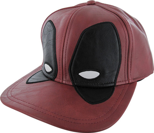 Deadpool Mask Faux Leather Snapback Hat