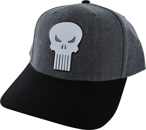 Punisher Logo Heathered Charcoal Snapback Hat