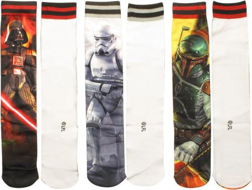 Star Wars Characters Sublimated 3 Pair Socks Set