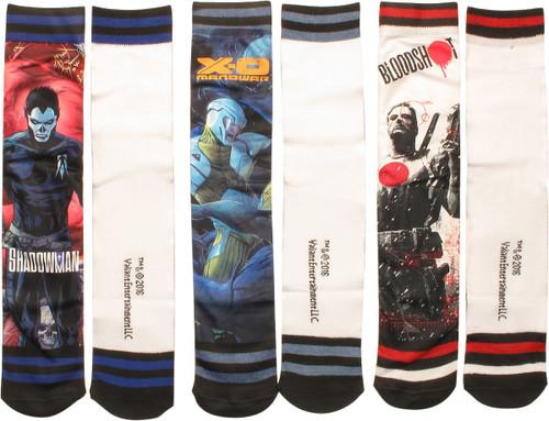 Valiant Comics Trio Dye Sub 3 Pair Crew Socks Set