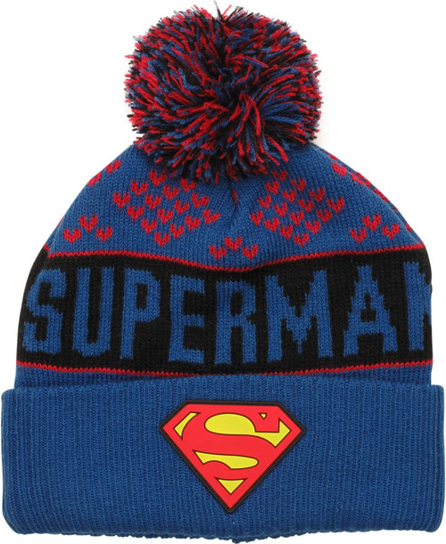 Superman Name Logo Cuff Pom Beanie