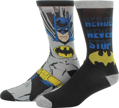 Batman Heroes Never Stop 2 Pair Socks Set