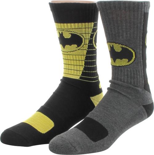 Batman Logo Athletic 2 Pair Crew Socks Set