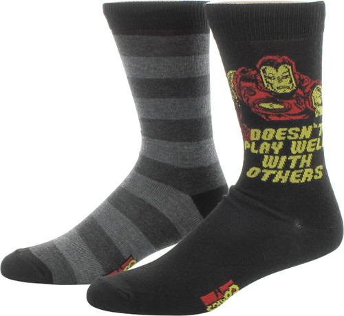 Iron Man Play Well Stripes 2 Pair Socks Set