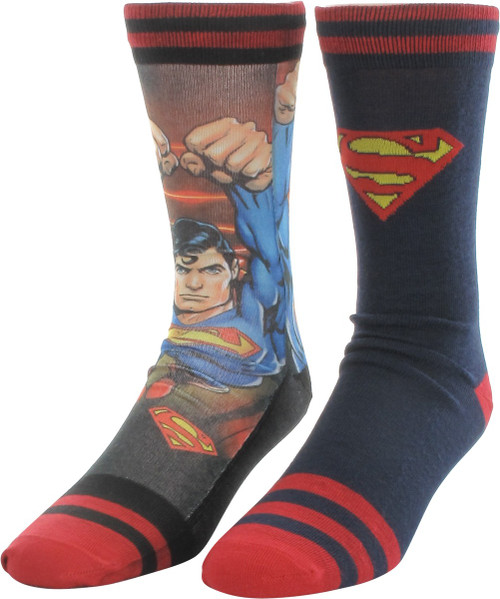 Superman Sublimated Hero and Knit 2 Pair Socks Set