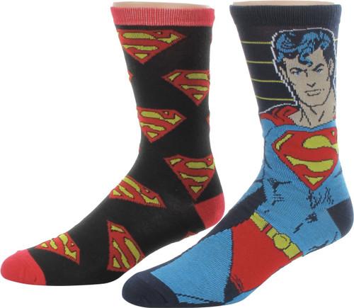 Superman Hero and Logos 2 Pair Socks Set