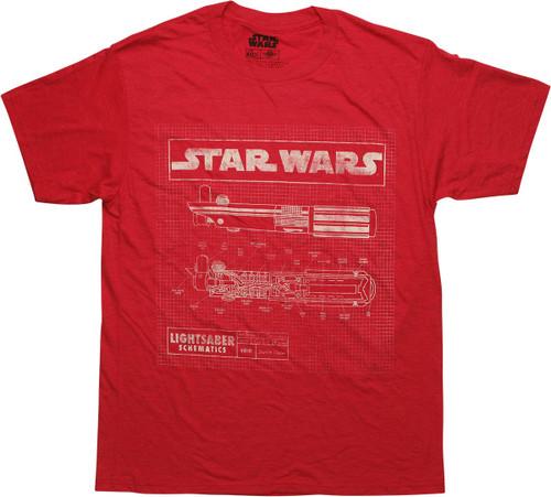 Star Wars Lightsaber Schematics White Logo Black Men/'s T-Shirt New