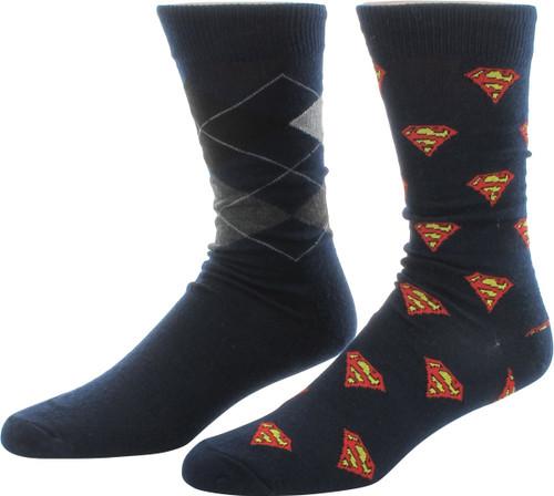 Superman Logos Argyle 2 Pair Crew Socks Set