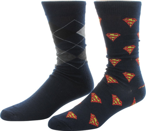 Superman Logos Argyle 2 Pair Crew Socks Set