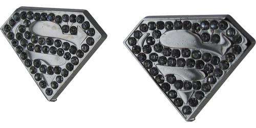 Superman Die Cut Rhinestone Stud Earrings