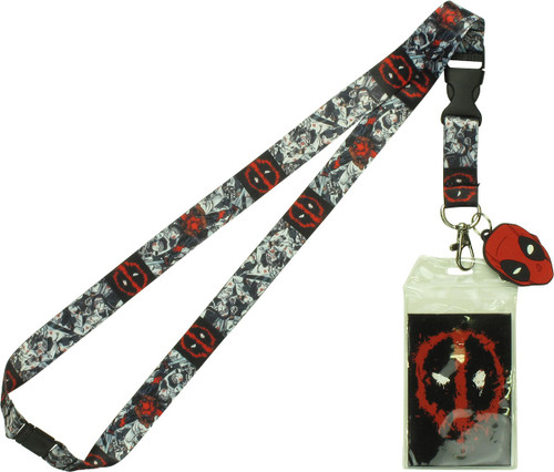 Deadpool Blood Splattered Logo Charm Lanyard