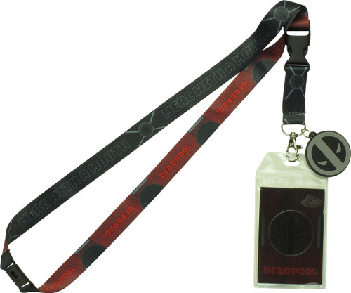 Deadpool Logo Merc with a Mouth Charm Lanyard