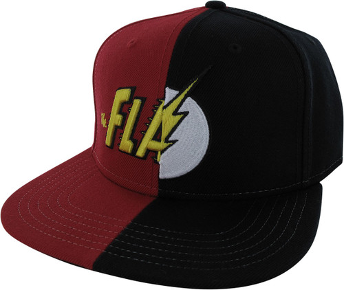 Flash Split Logo Black and Red Snapback Hat