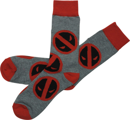 Deadpool Allover Print Logo Gray Crew Socks