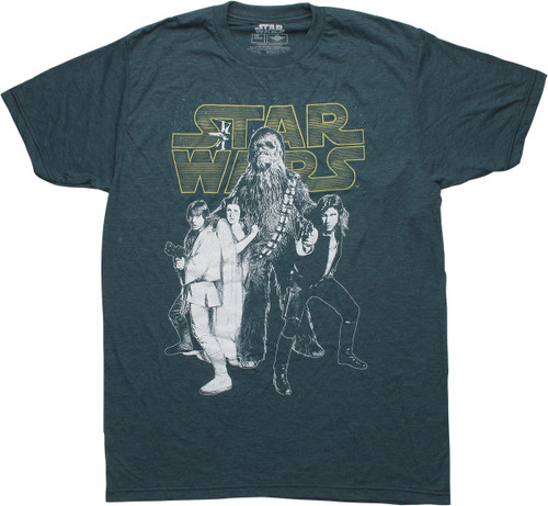 Star Wars Heroes Name Heathered Navy T-Shirt