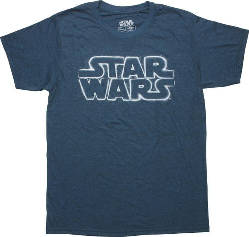 Star Wars Stenciled Logo Heathered Navy T-Shirt