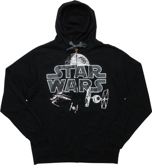 Star Wars Logo Space Battle Scene Zipper Hoodie