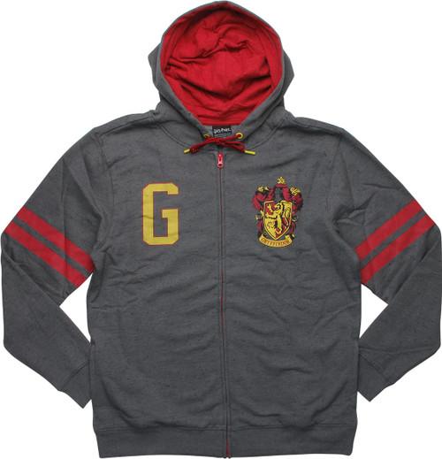 Harry Potter Gryffindor Crest Gray Zip Hoodie