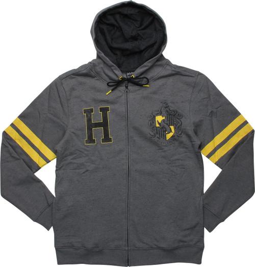 Harry Potter Hufflepuff Crest Gray Zip Hoodie