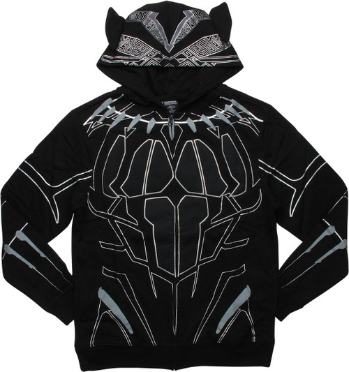 0dfdd87866b Black Panther Movie Armor Costume Zip Hoodie
