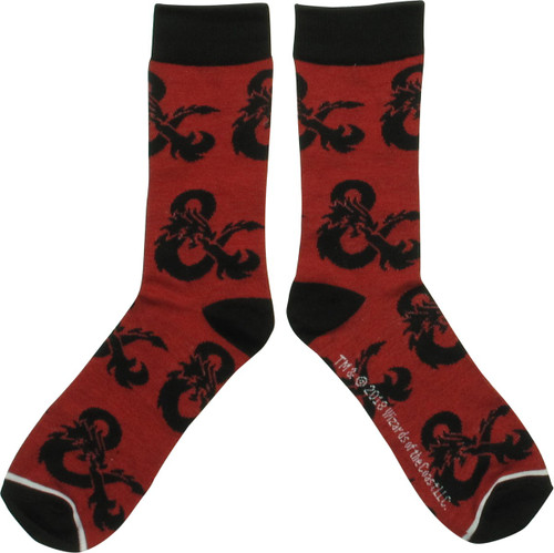Dungeons and Dragons Logo Red Crew Socks