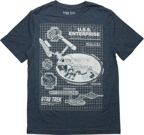 Star Trek USS Enterprise Blueprint T-Shirt
