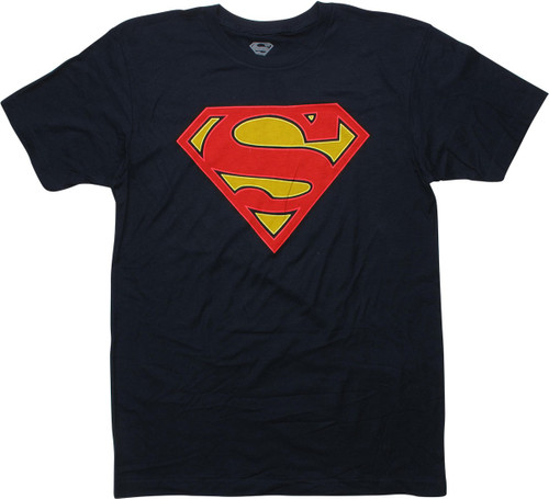 Superman Logo Glow in the Dark Navy Blue T-Shirt
