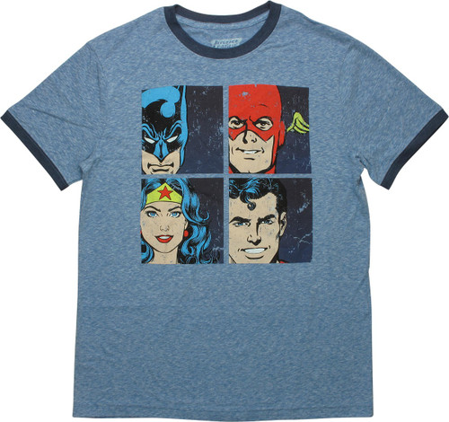 Justice League Characters Squares Ringer T-Shirt