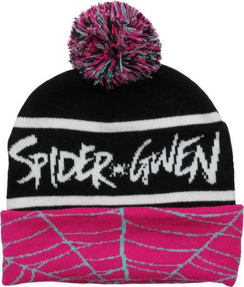 Spider-Gwen Name Cuff Pom Beanie