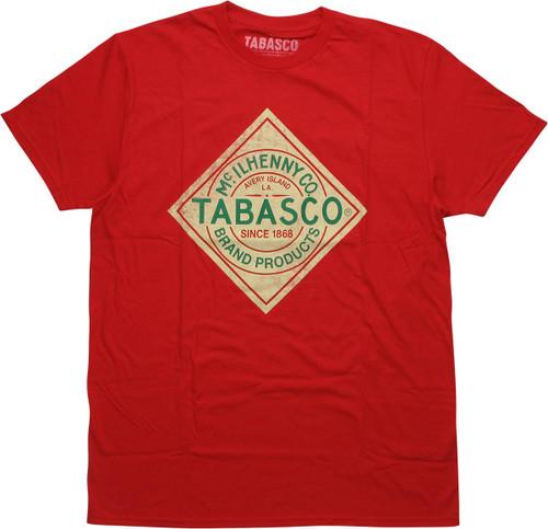 Tabasco Sauce Logo Distressed Red T-Shirt