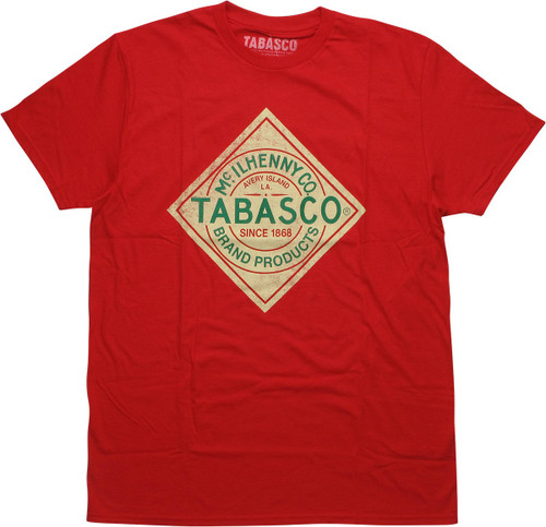 Tabasco Sauce Logo Distressed Red T-Shirt
