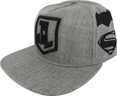Justice League Movie Logos Gray Snapback Hat